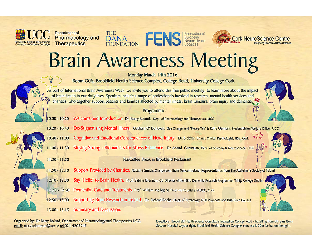 Dr Barry Boland organises Brain Awareness Meeting. All Welcome