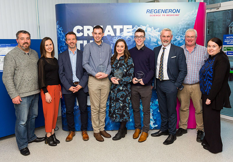Attending the Regeneron Awards ceremony were Dr Eric Moore, School of Chemistry, UCC; Yvonne Harding, Work Placement Manager for College of Science, Engineering and Food Science (SEFS), Careers Office, UCC; Dr David Clarke, School of Microbiology, UCC; Award winners, Thomas Coneran, Eilishe Purcell and Peter Townsend; Dr Justin McCarthy, Dr Eoin Fleming and Dr Sinéad Kerins, School of Biochemistry and Cell Biology, UCC.