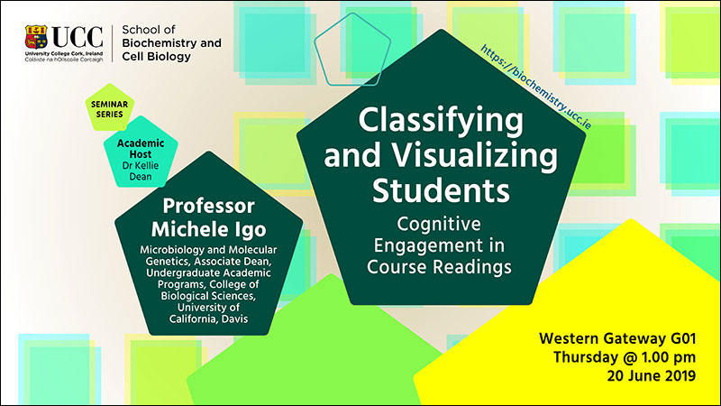 2018-2019 School of Biochemistry and Cell Biology Seminar Series.  SEMINAR TITLE: Classifying and Visualizing Students: Cognitive Engagement in Course Readings. SEMINAR SPEAKER: Professor Michele Igo, Microbiology and Molecular Genetics, Associate Dean, Undergraduate Academic Programs, College of Biological Sciences, University of California, Davis, USA. VENUE AND DATE: Western Gateway G01 @ 1.00pm Thursday 20 June 2019. ACADEMIC HOST: Dr Kellie Dean.