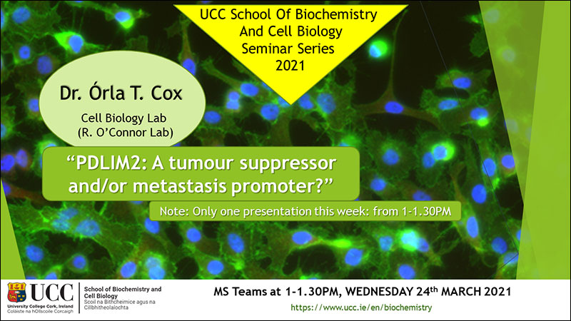 2020-2021 School of Biochemistry and Cell Biology Seminar Series.  SEMINAR TITLE: PDLIM2: A tumour suppressor and/or metastasis promoter?  SEMINAR SPEAKER: Dr Orla Cox, School of Biochemistry and Cell Biology, UCC.  VENUE AND DATE: MS Teams @ 1.00pm Wednesday 24th March 2021.  ACADEMIC HOST: School of Biochemistry and Cell Biology.