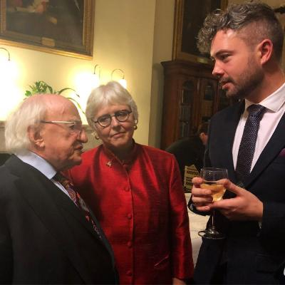 From left to right: President Michael D. Higgins, Prof Jane Ohlmeyer Chair Irish Research Council & Dr Sean Hewitt, School of English and Digital Humanities CACSSS at the IRC Researcher of the Year Award ceremony in the Royal Irish Academy, Dublin 4th December 2019.