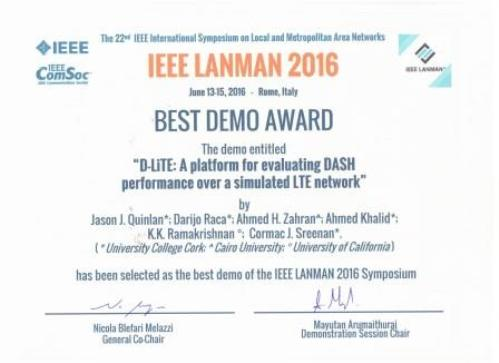 Best demo award for iVID project at LANMAN 2016