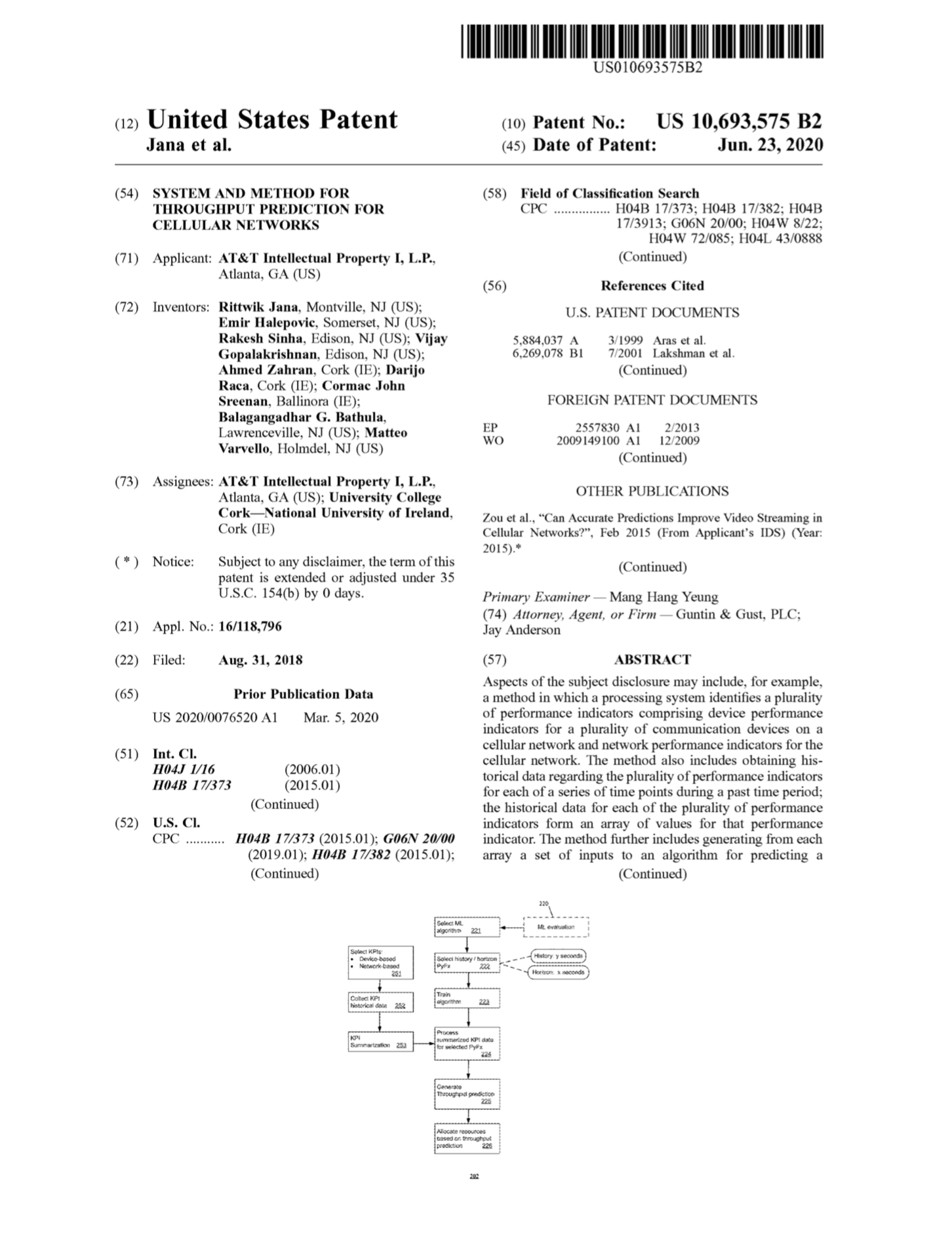 US Patent - System & Method for Throughput Prediction for Cellular Networks
