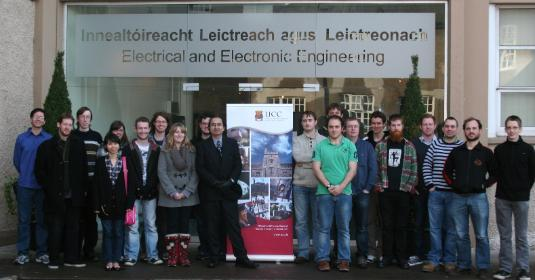 Shown are some of the members of the new IEEE Student Branch at University College Cork (UCC), Ireland. Standing from left to right are Philip Marraccini (Branch Treasurer), Bradley Snyder, Sean O'Connell, Chenchen Pan, Amy Long, Conor Donaldson, Kilian O'Donoghue (Branch Chair), Fiona Edwards-Murphy, Cian Cassidy (Branch Vice Chair), Prof. Nabeel Riza (Founding Branch Advisor), Daniel Kelleher, Alexander Jaeger Declan Gordon, Brian Baldwin, Donal Murray, David Murphy, Simon O'Reagan, Sean McSweeney, Paul McNamara, and Tadhg Lambe.