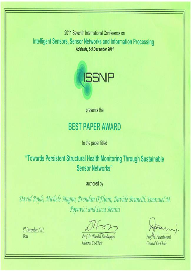 Best Paper Award for Dr. Emanuel Popovici