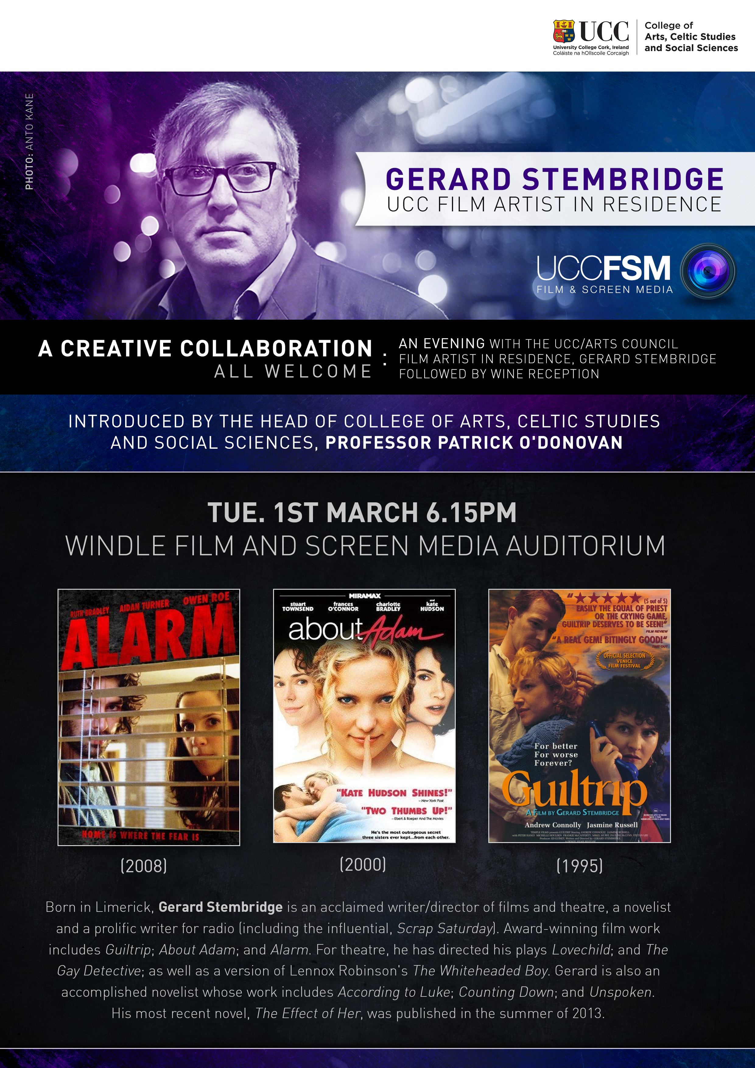 An Evening with Gerard Stembridge, Tue 1st March, 6.15pm.