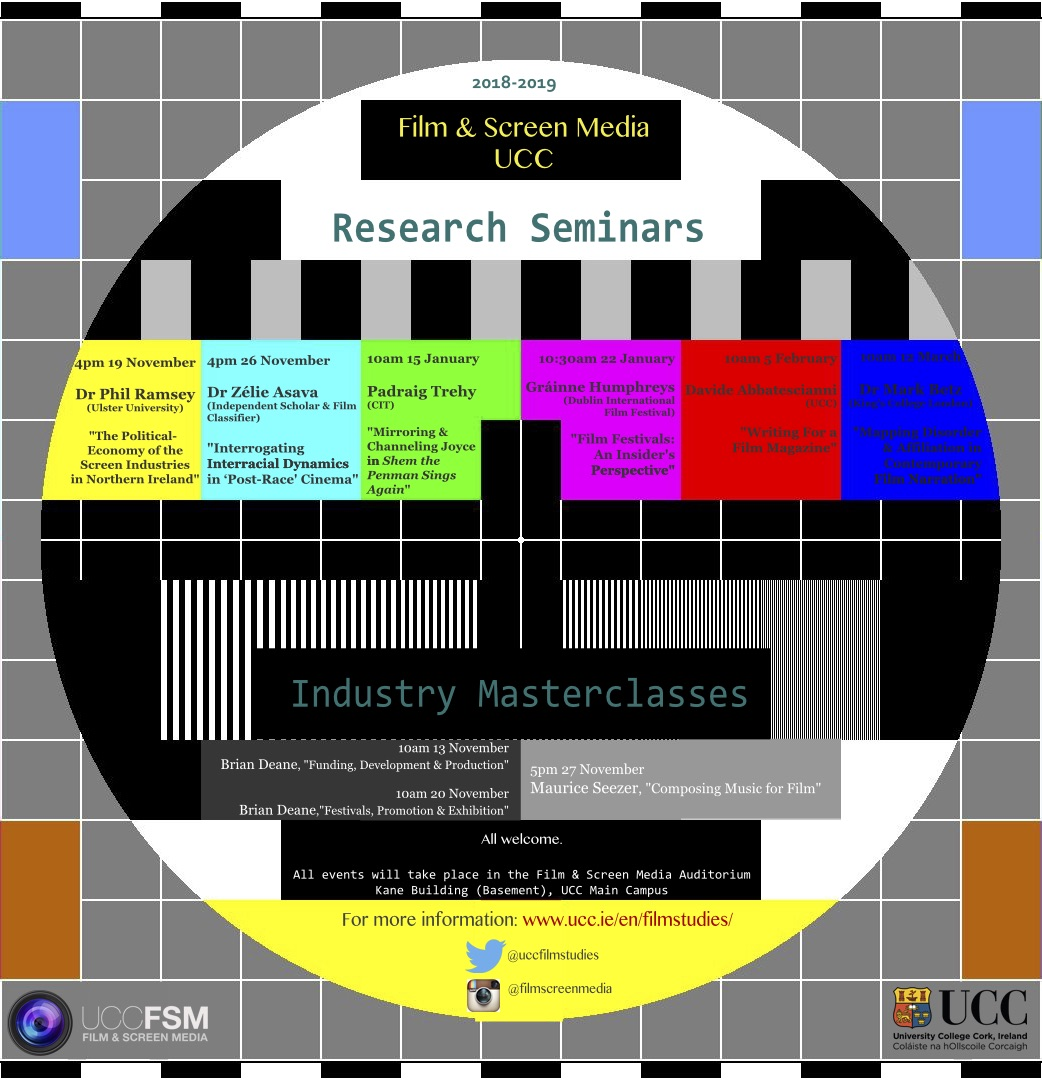 Film and Screen Media are proud to announce their line up of Research Seminars 2018-19. All Welcome.