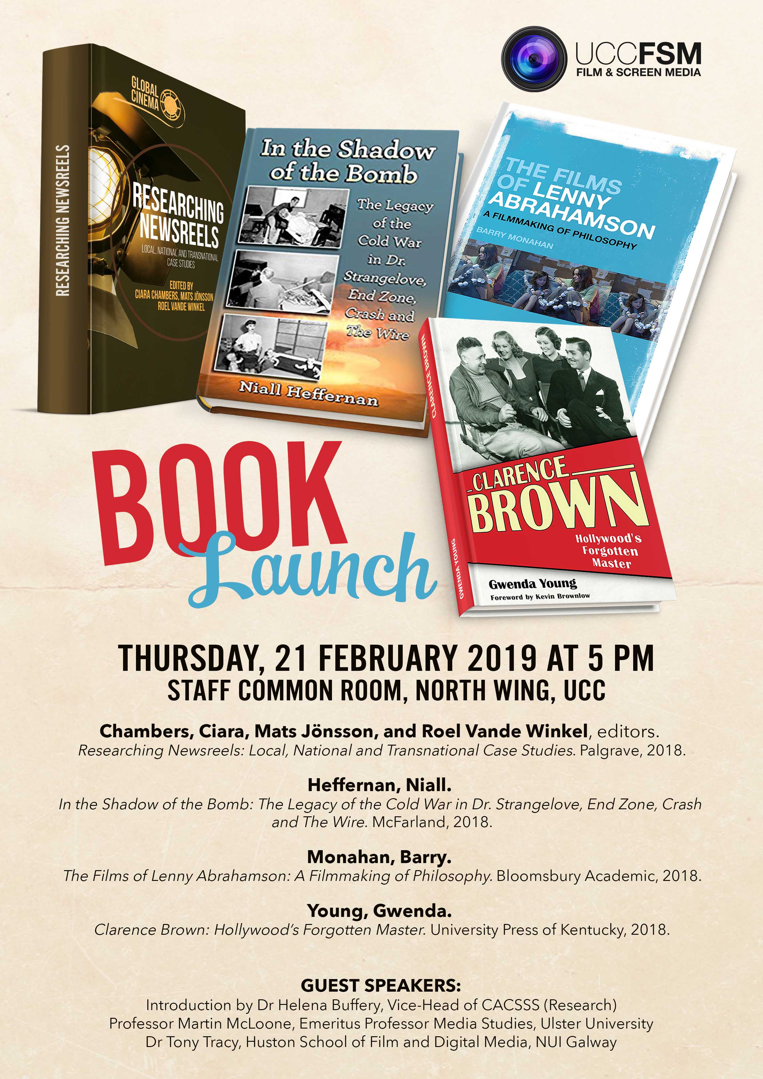 Film and Screen Media announces Book Launch Thursday 21st Feb, Staff Common Room.