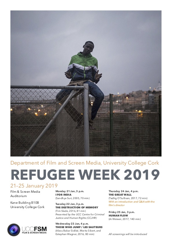 21–25 January 2019, Series of screenings to mark Refugee Week. Film and Screen Media Auditorium, Kane Building basement B10.B