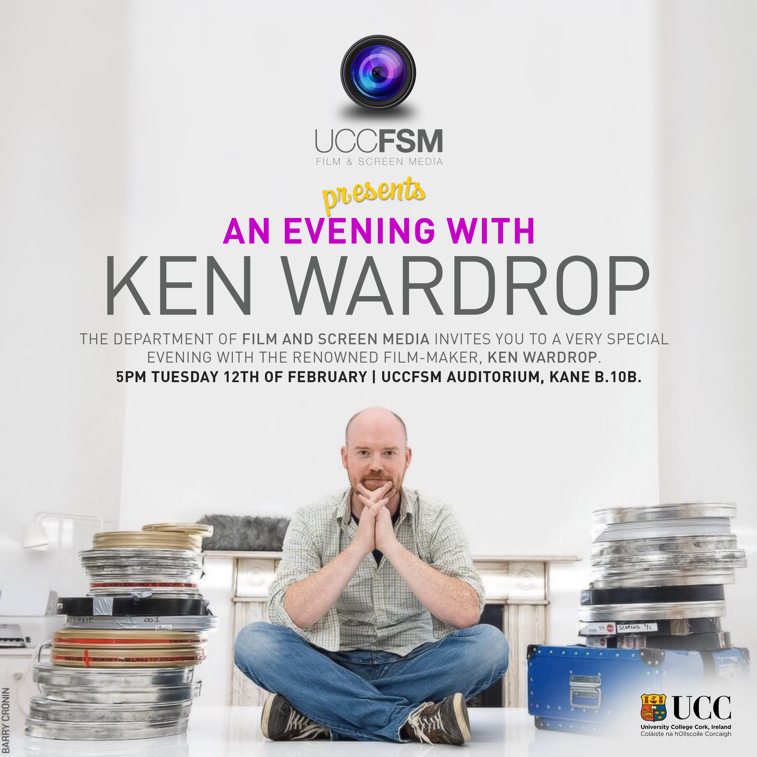 Public lecture by acclaimed director Ken Wardrop. Tues 5pm, UCC.