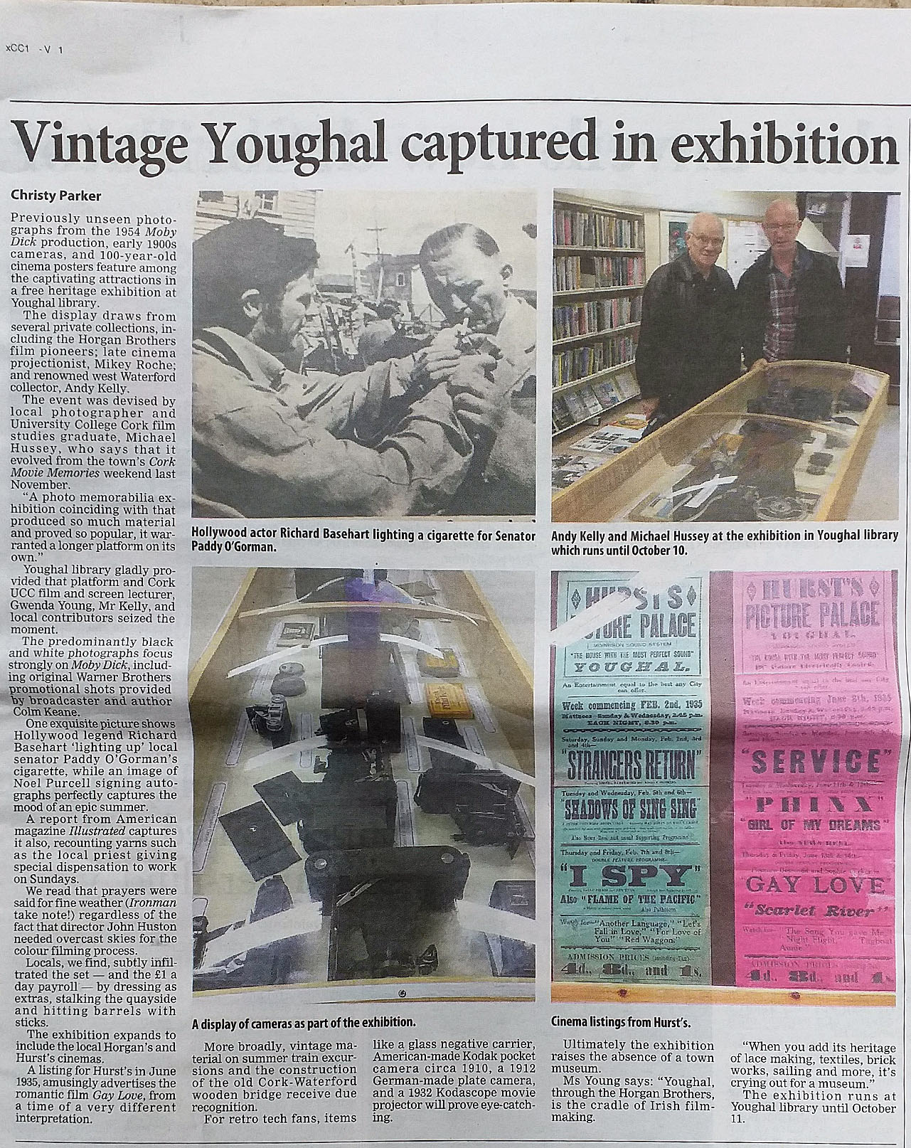 New exhibition on cinema and cinema-going in Youghal, curated by Mr. Michael Hussey. Youghal Library. Sep 20th - Oct 11th.