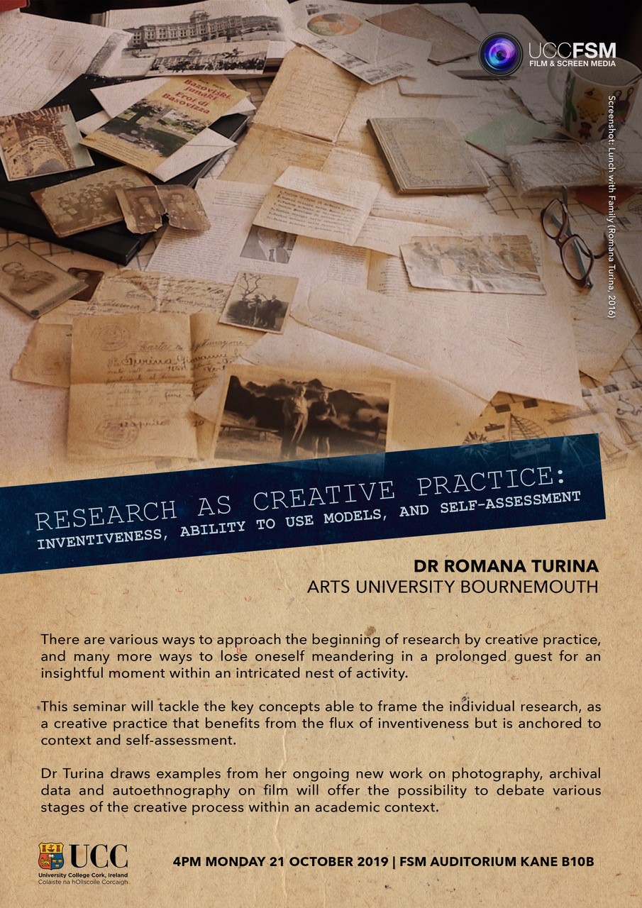 Dr. Romana Turina. Research as Creative Practice. Mon 21st Oct @ 4pm.