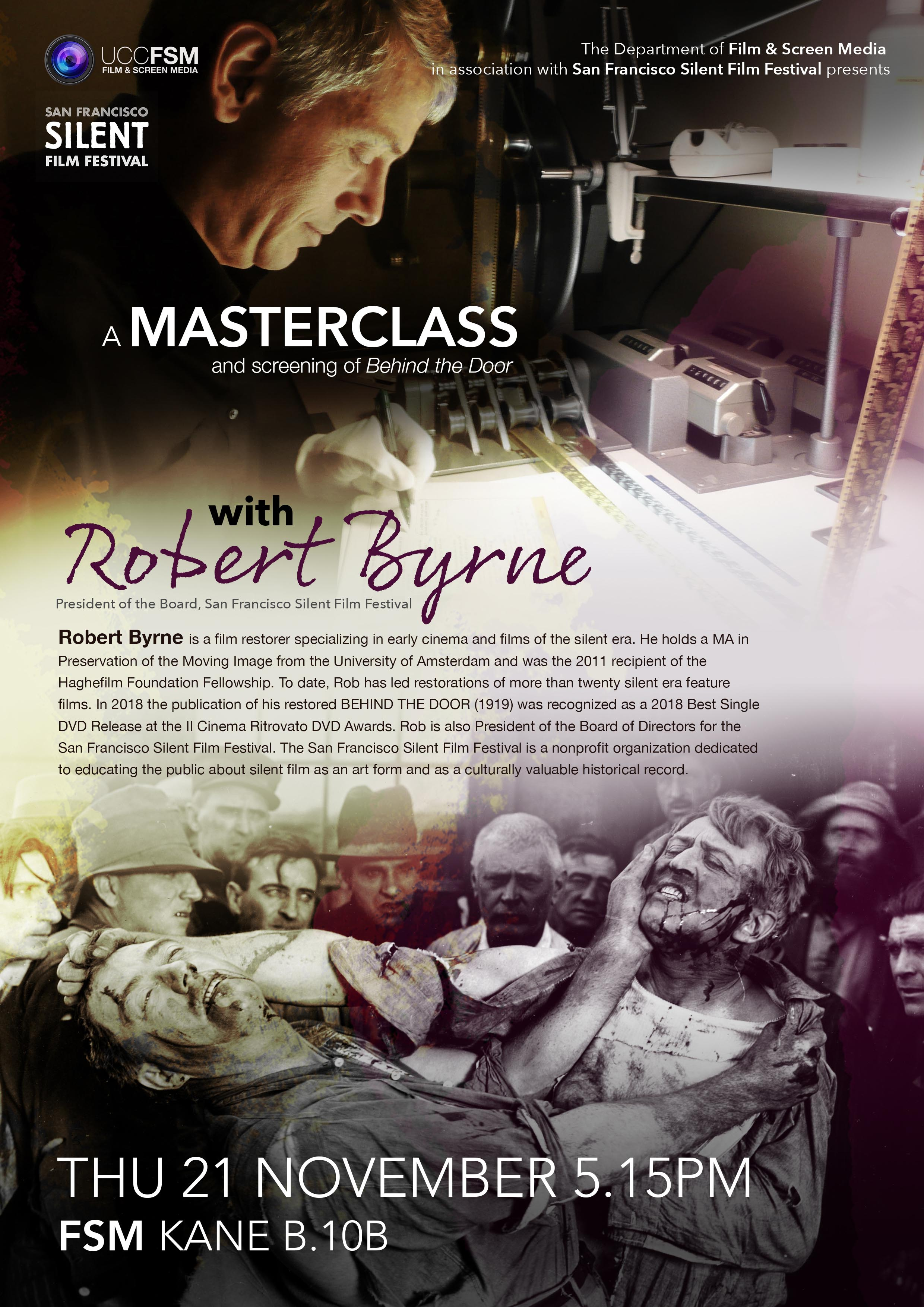 A Masterclass with Robert Byrne. Thu 21st Nov @ 5.15pm