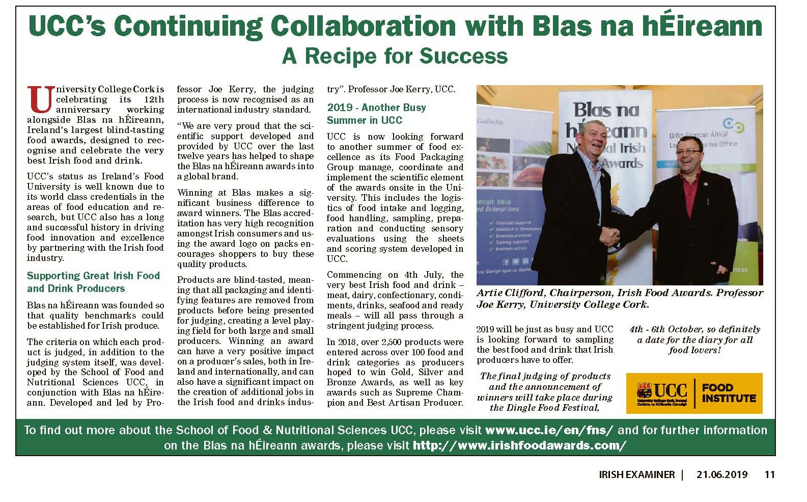 UCC's Continuing Collaboration with Blas na hEireann