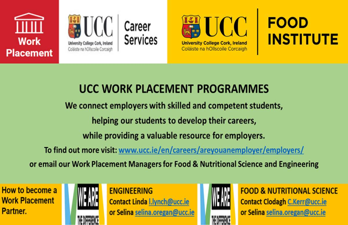 Work Placement Spring 2021 - School of Food and Nutritional Sciences