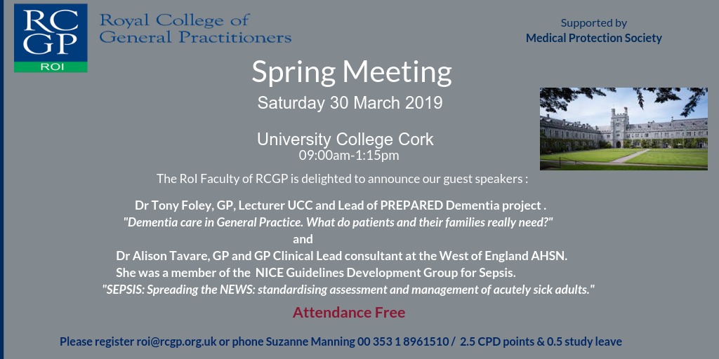 RCGP Republic of Ireland Faculty Meeting: Saturday March 30th 2019 at UCC