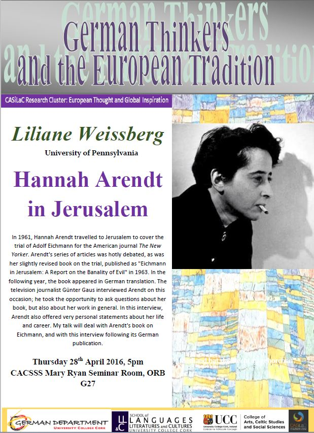 Liliane Weissberg Hannah Arendt lecture