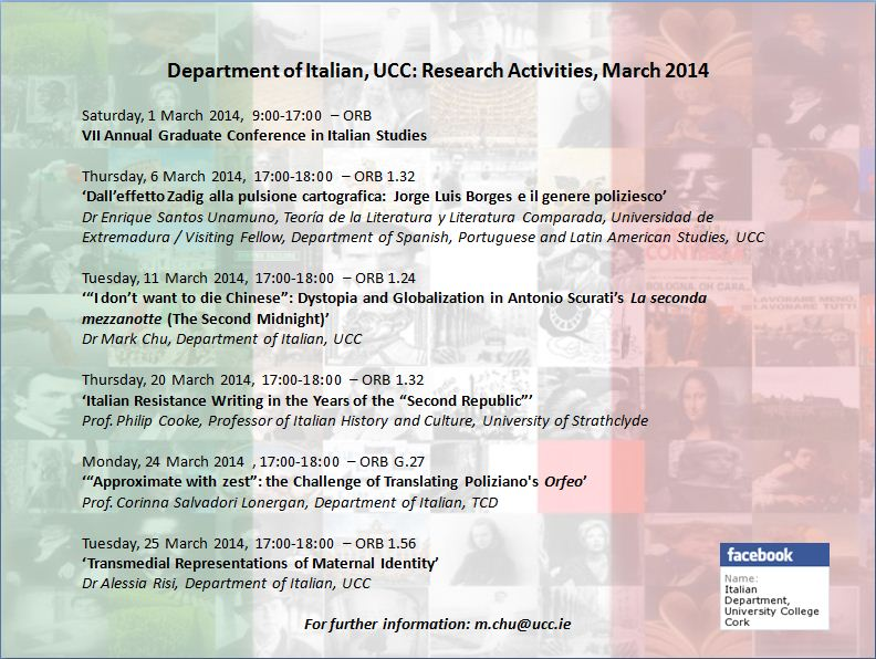 The programme of research seminars for March 2014