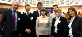 Louise o'Keefe in the ECtHR with Legal Representitives and memebrs of the Clinic team