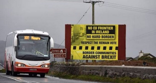 A bus crossing the Irish border