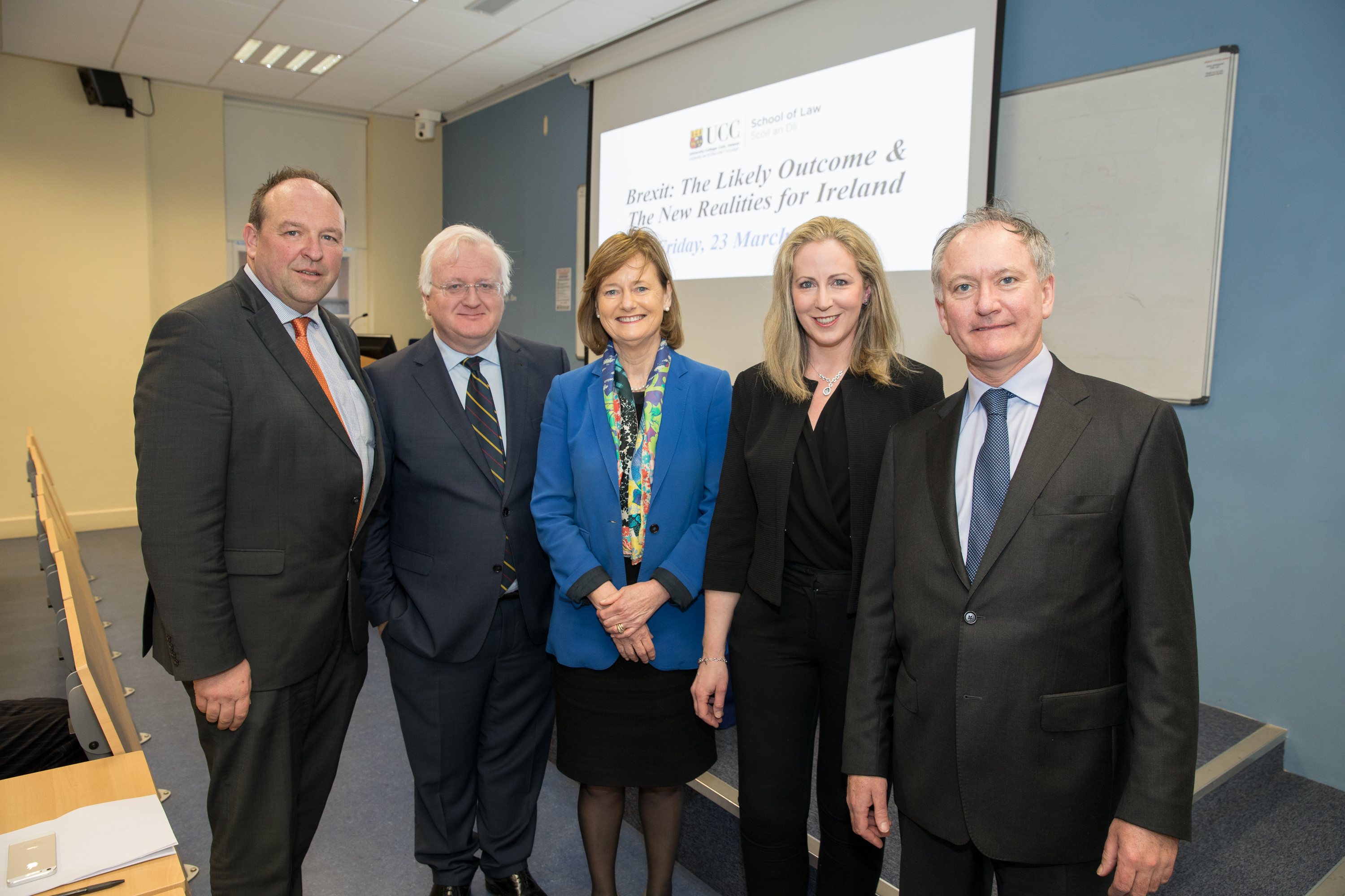 Declan Walsh stands along side Dr Vincent Power, Deirdre Clune MEP, Dr Mary C. Murphy, and Judge Anthony M Collins ahead of our Brexit Seminar