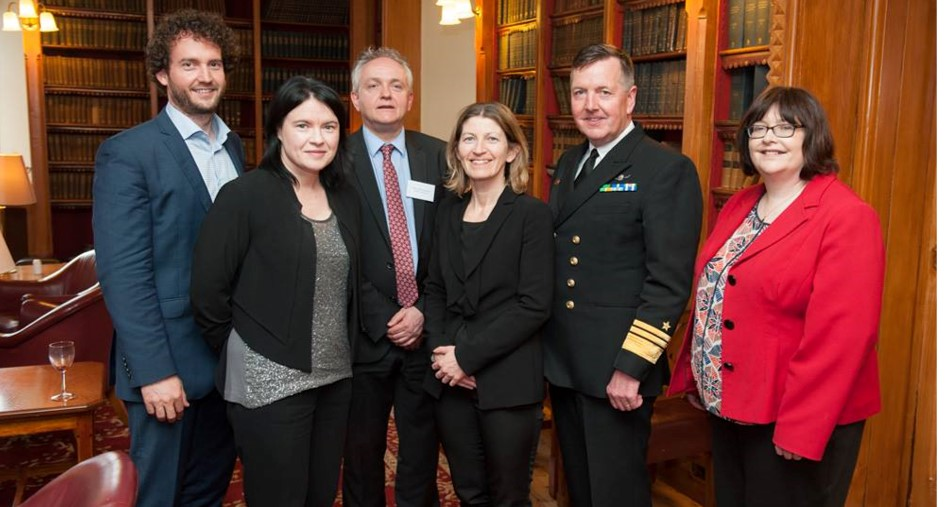 Dr Bjørn-Oliver Magsig, Dr Aine Ryall and Professor Owen McIntyre and joined by Professor Ursula Kilkelly and Vice Admiral Mark Mellet at the llaunch of the Centre for Law and the Environment