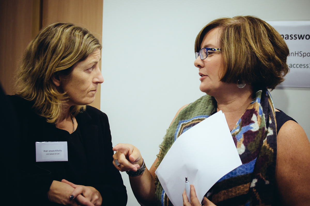 Professor Ursula Kilkelly and Ambassador Helena Nolan in deep conversation during UCC School of Law's Alumni & Friends Event at the Irish Embassy in Brussels