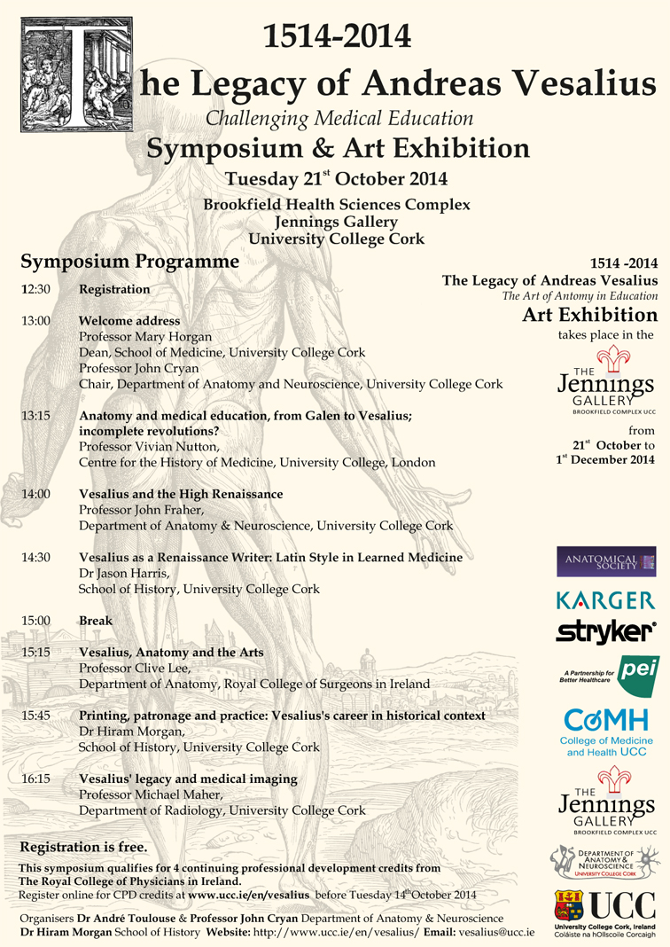 Symposium - The Legacy of Andreas Vesalius - 21 October 2014