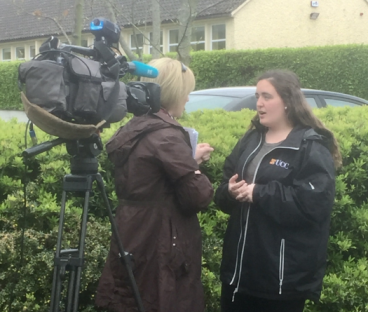 A student being interviewed about the new Gaeltacht module by TG4