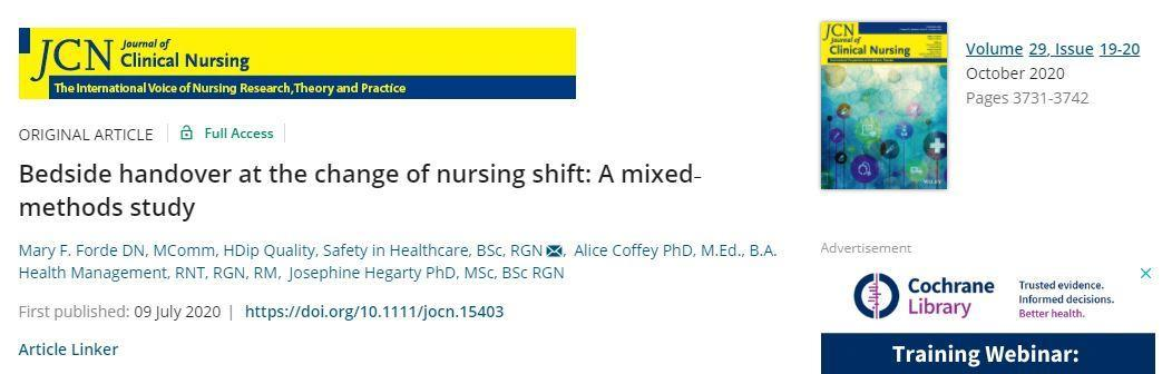 Dr Mary Forde: a graduate from the Doctorate of Nursing publishes her mixed methods research study in the Journal of Clinical Nursing