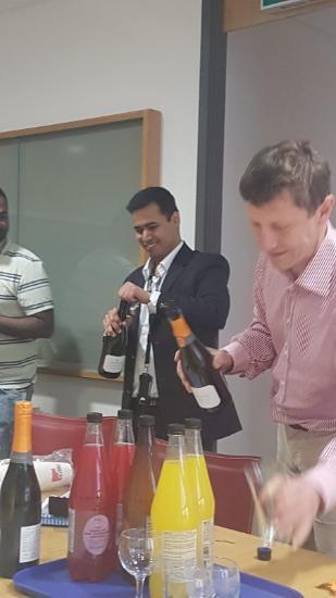 Anirudh Jaisimha and Prof Thomas Walther are celebrating Anirudh's latest accomplishment of completing his PhD and passing his Viva Examinations