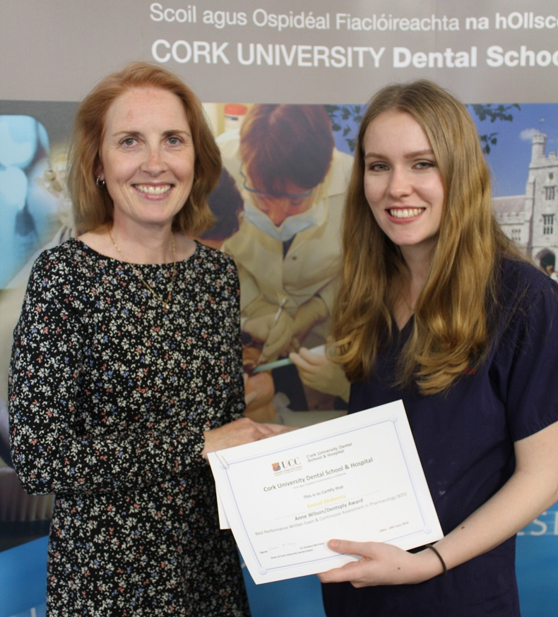 Congratulations to Sinéad McKenna winner of Dr Anne Wilson Prize for Dental Pharmacology 2017