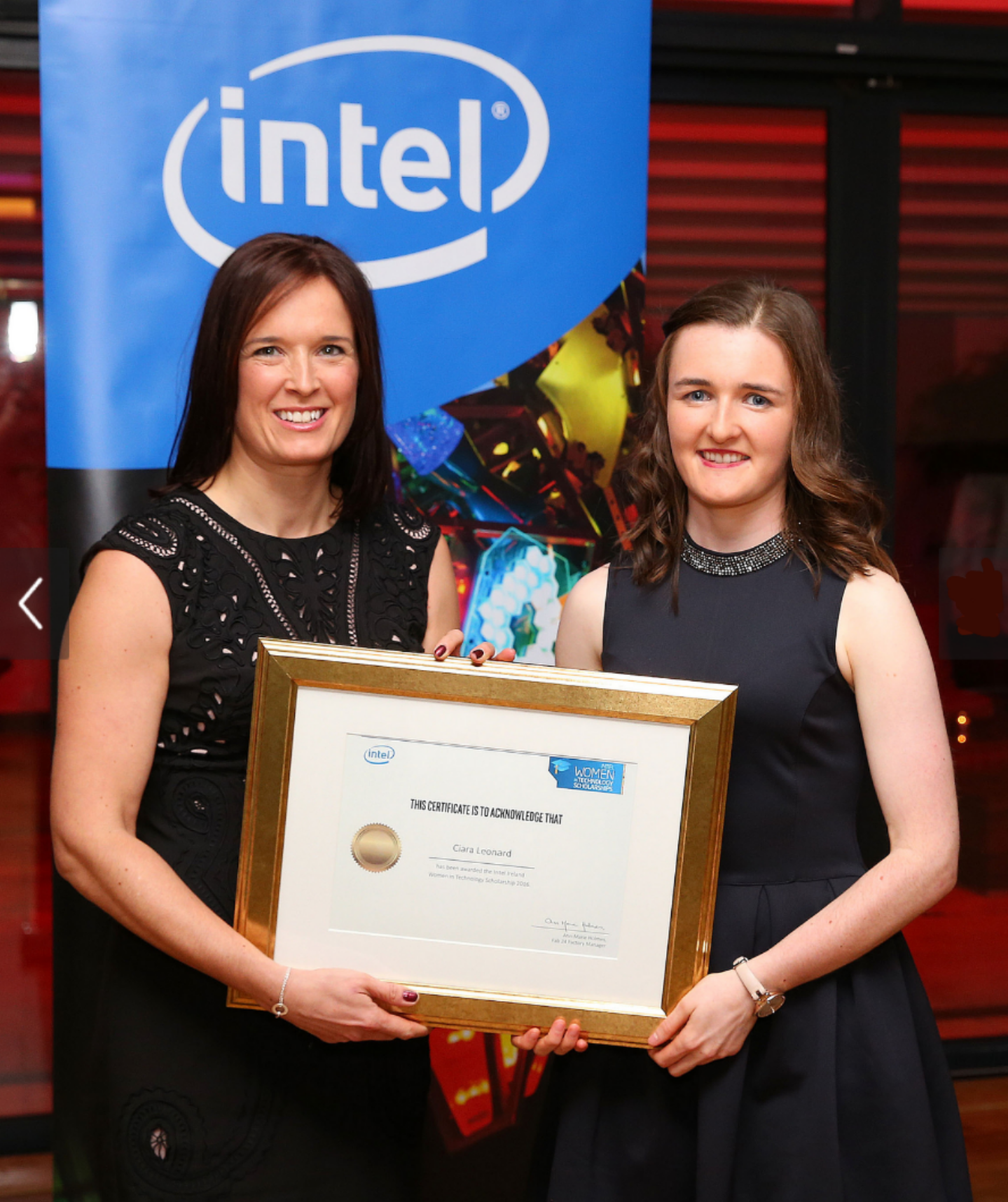 Process & Chemical Engineering First Year Student, Ciara Leonard awarded Intel Women in Technology Scholarship 2016