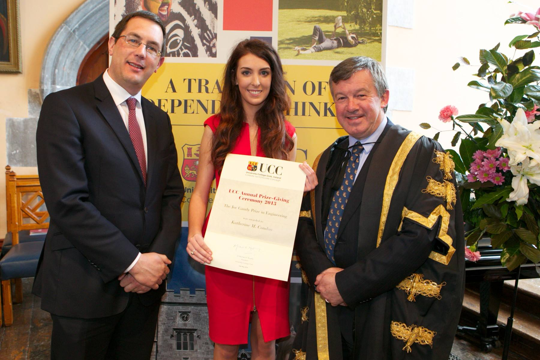 Katherine Condon is awarded the Joe Gantly Prize for Engineering at the UCC Annual Prize Giving 2014