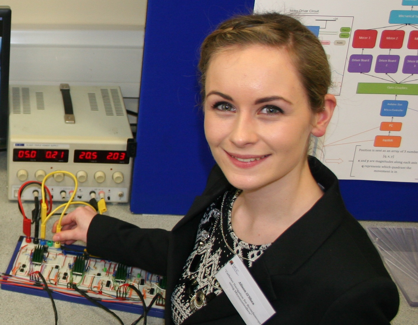 Alison O'Shea final year Electrical Engineering student wins a 2014 The Naughton Fellowship awards