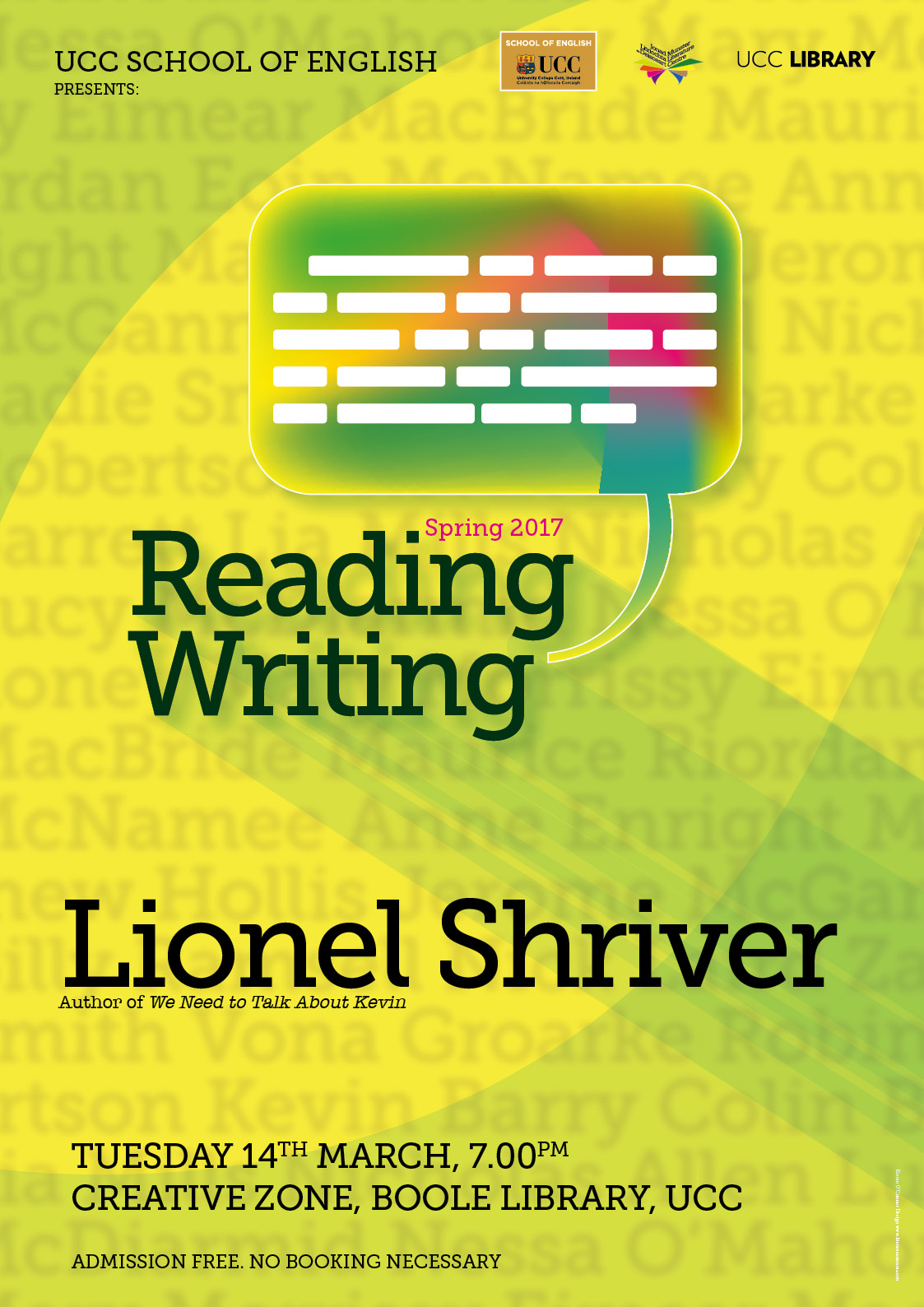 Lionel Shriver to read at UCC