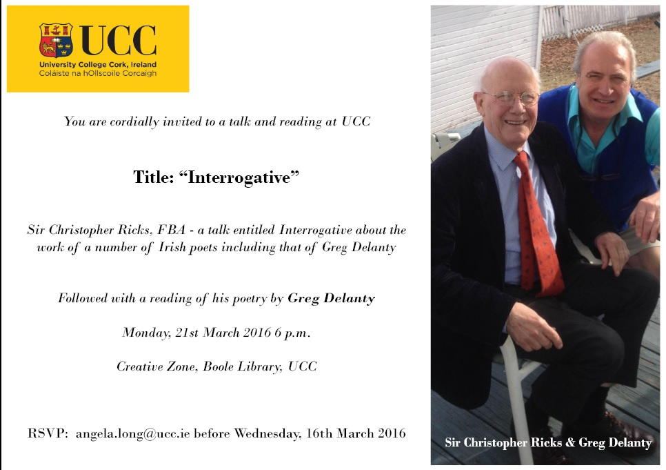 Noted literary critic Sir Christopher Ricks to Lecture at UCC