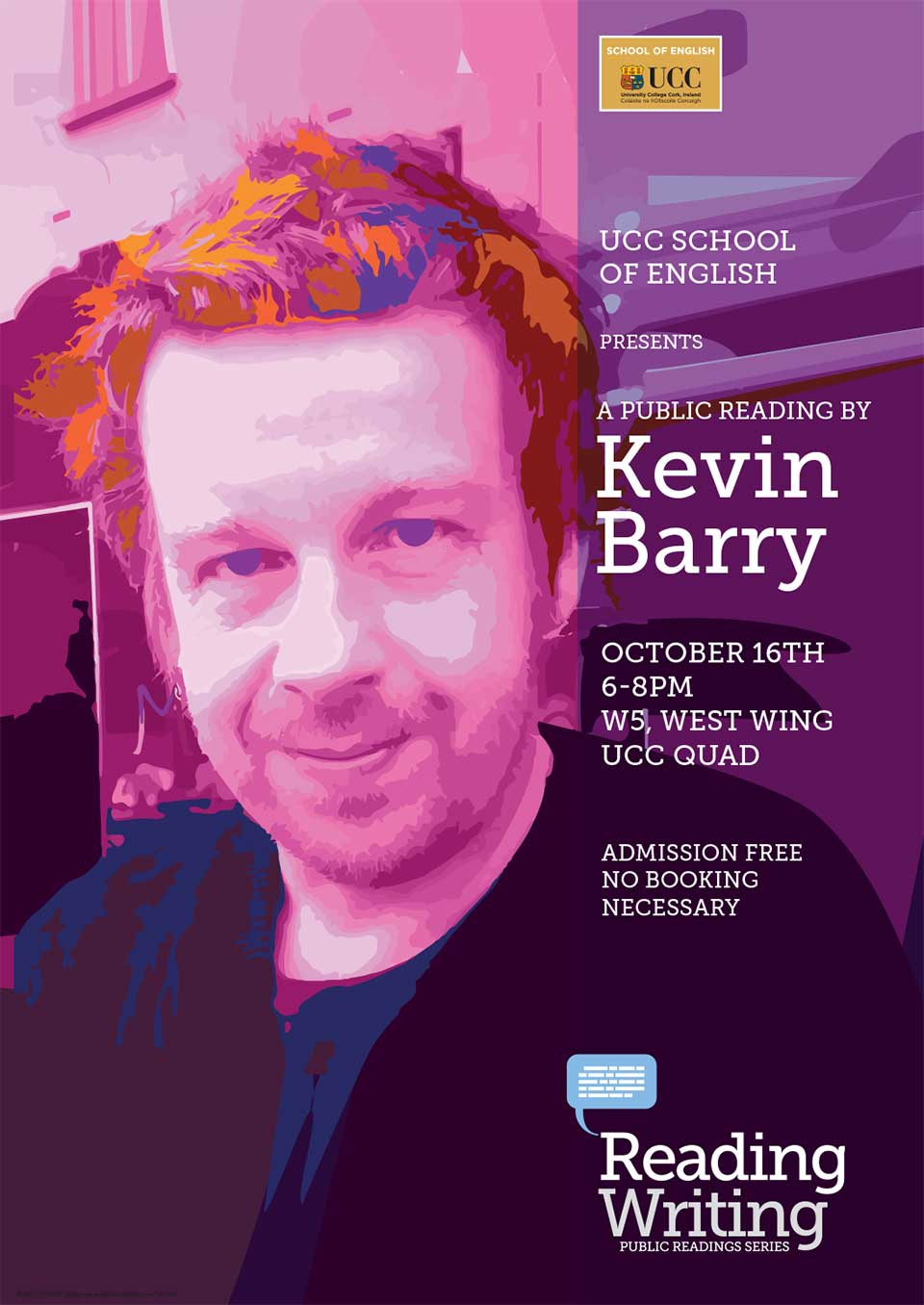 Author Kevin Barry to visit UCC