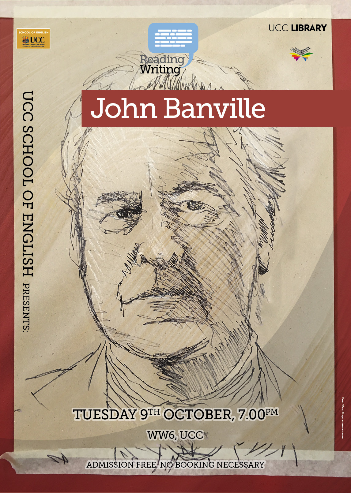 UCC's 2018/19 School of English reading series kicks off on Tuesday, October 9, with one of Ireland's leading novelists, John Banville.