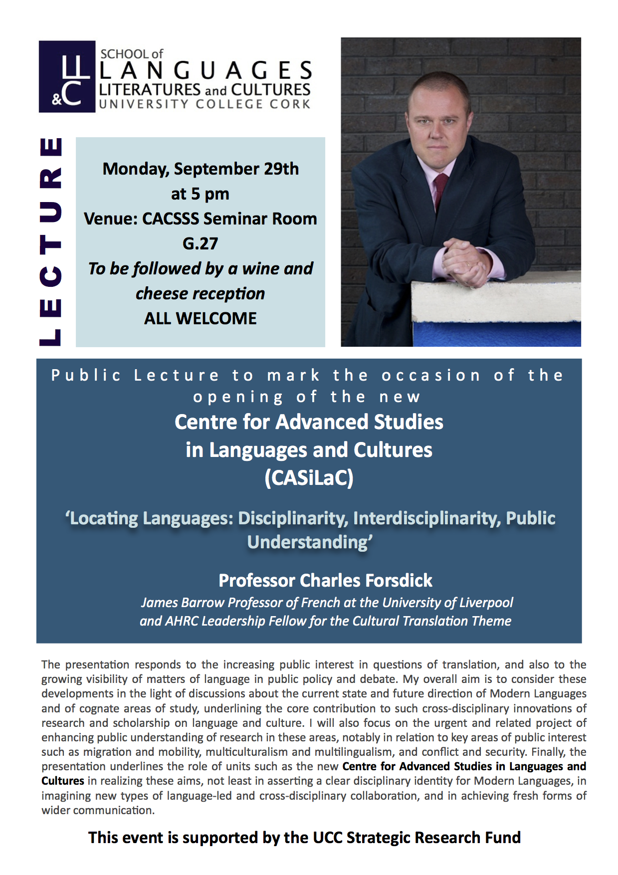 Public Lecture by Professor Charles Forsdick - 5 p.m. Monday 29th September 2014