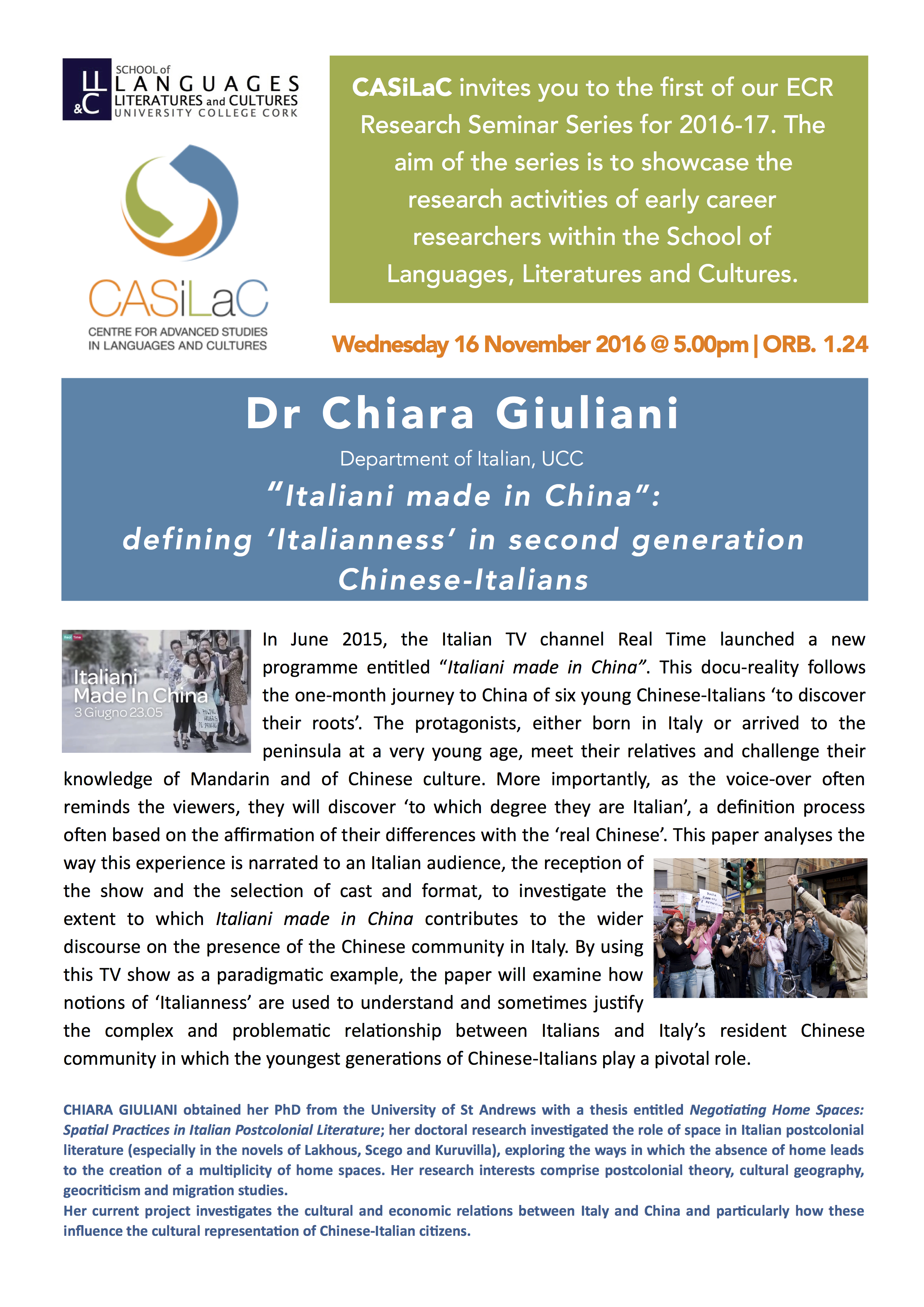 """Italiani made in China"": Defining 'Italianness' in second generation Chinese-Italians. by Dr CHIARA GIULIANI"