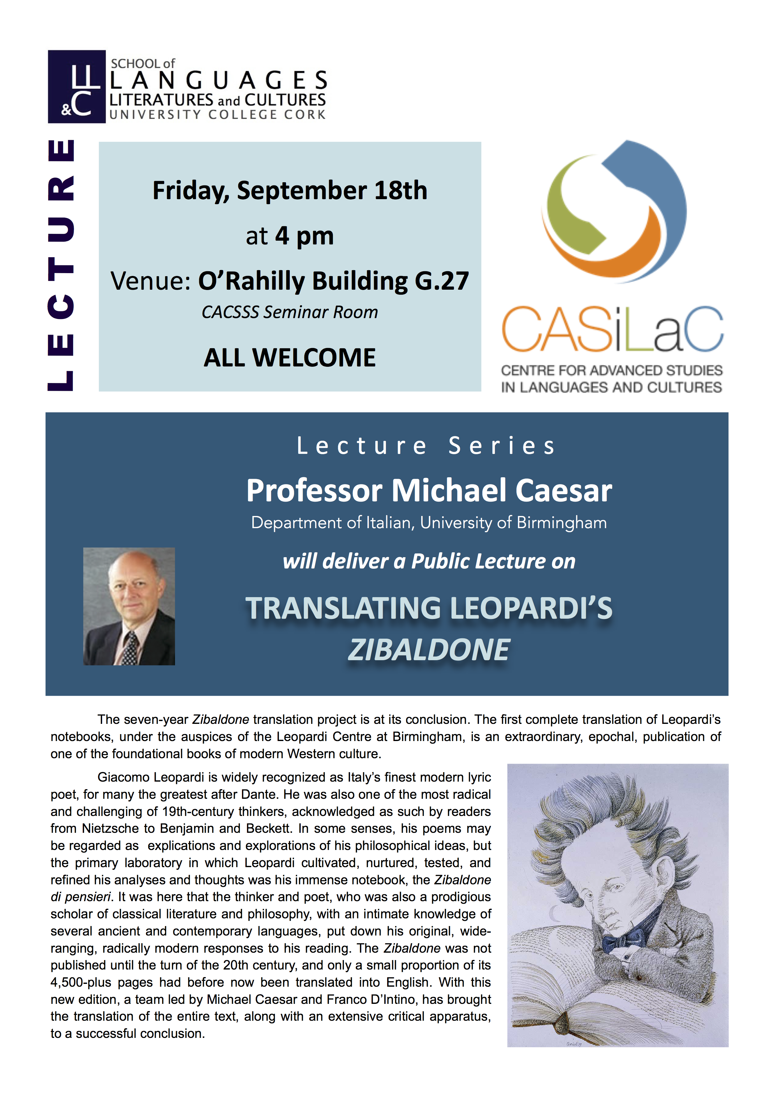 Professor Michael Caesar will deliver a Public Lecture - Translating Leopardi's Zibaldone