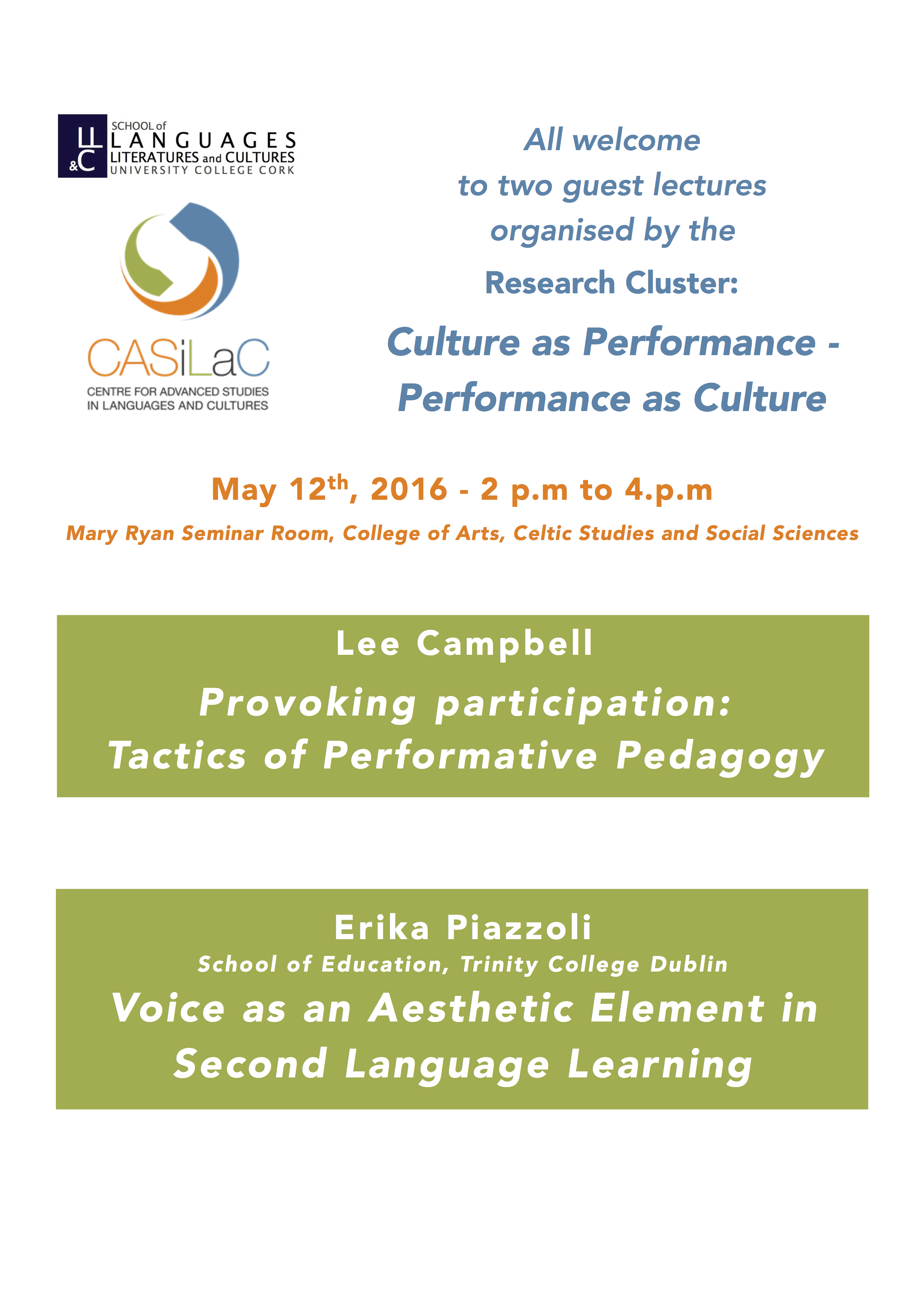 CASiLaC Cluster - Culture as Performance, Performance as Culture