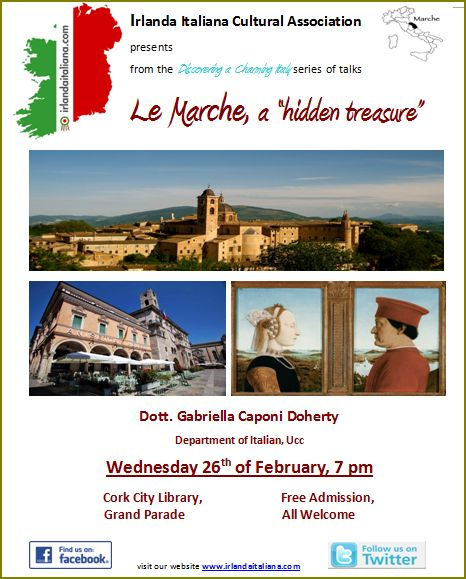 Le Marche - Talk on Wednesday 26 February at 7 pm in the City Library