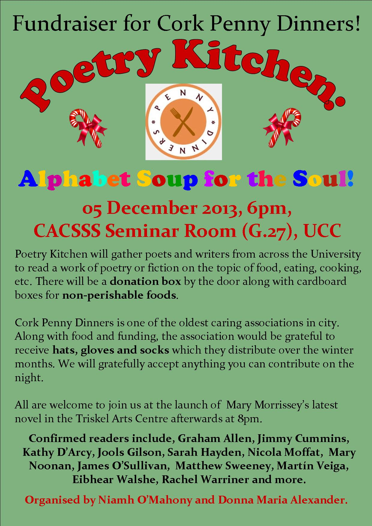 Poetry Kitchen - fundraiser for Cork Penny Dinners