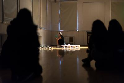 Student performing a devised piece of theatre