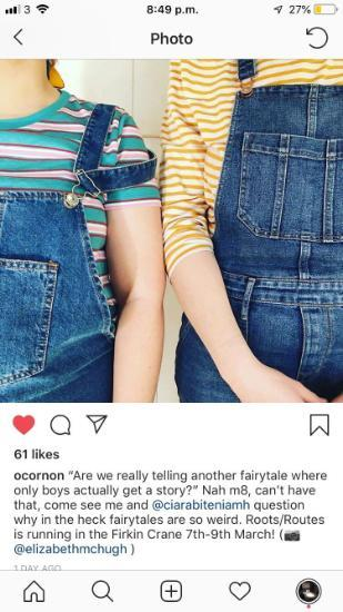 Instagram image of two women standing side by side in denim dungarees