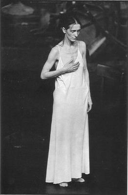 Pina Bausch performing in white dress