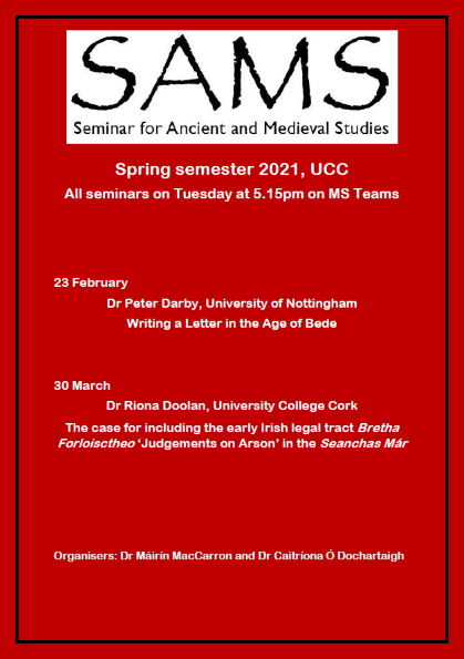 Seminar for Ancient and Medieval Studies  - Spring 2021