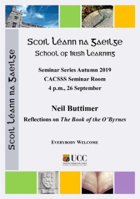 School of Irish Learning Seminar Series Autumn 2019